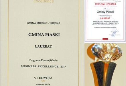 "Piaski laureatem konkursu ""Business Excellence"" 2017"