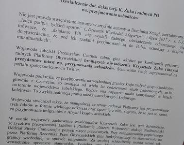 Oświadczenie ws. deklaracji prezydenta Żuka i radnych PO