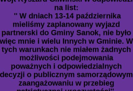 Kolejny list otwarty mieszkanki Gminy Zamość do Wójta Ryszarda Gliwińskiego