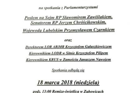 Wojewoda Lubelski i Parlamentarzyści spotkają się z mieszkańcami kolejnych gmin na Zamojszczyźnie