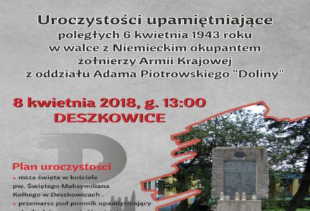 """Uroczystości upamiętniające poległych 6 kwietnia 1943 roku w walce z niemieckim okupantem żołnierzy AK z oddziału Adama Piotrowskiego ps. """"Dolina"""""""