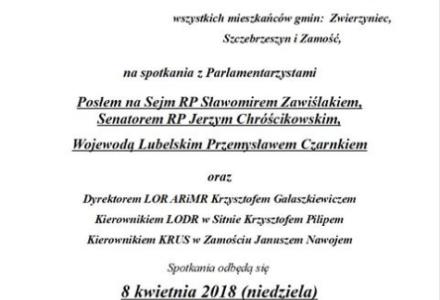Wojewoda Lubelski i Parlamentarzyści PiS spotkają się z mieszkańcami kolejnych gmin na Zamojszczyźnie