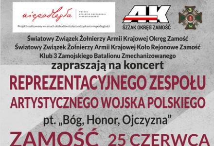"""Koncert Reprezentacyjnego Zespołu Artystycznego Wojska Polskiego pt. """"Bóg, Honor, Ojczyzna"""""""