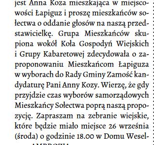 Czy sołtys Łapiguza i Redaktor Naczelny Biuletynu Samorządu Gminy Zamość już rozpoczęli kampanię wyborczą ?