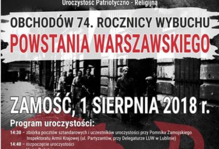 74. rocznica wybuchu Powstania Warszawskiego – program obchodów w Zamościu