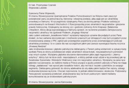 Wołyniacy dziękują wojewodzie za obronę pamięci Polaków