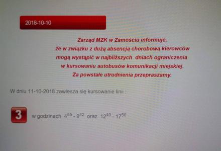 Komunikat MZK o ograniczeniu w kursowaniu autobusów