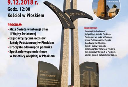 Uroczystość odsłonięcia pomnika w Hołdzie Dla Pilotów i Ofiar II Wojny Światowej z Płoskiego