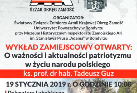O ważności i aktualności patriotyzmu w życiu narodu polskiego – wykład Ks. prof. Tadeusza Guza w Zamościu