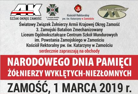 1 marca – Narodowy Dzień Pamięci Żołnierzy Wyklętych. Uroczystości w Zamościu