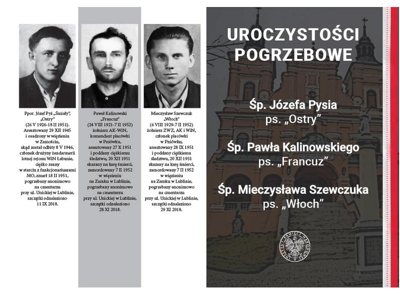 Zaproszenie na uroczystości pogrzebowe Żołnierzy II Inspektoratu Zamojskiego Armii Krajowej – 30 września 2019 r., Radecznica