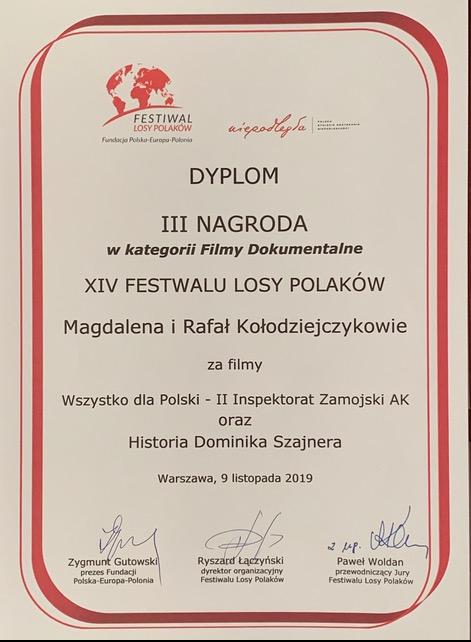 """Nagroda dla filmu """"Wszystko dla Polski. Dzieje II Zamojskiego Inspektoratu Armii Krajowej"""""""