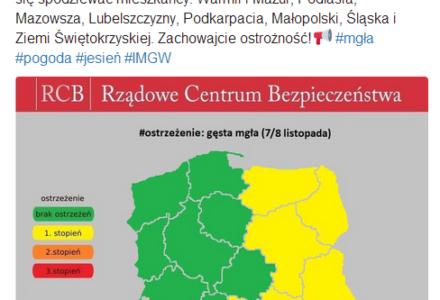 RCB ostrzega przed gęstymi mgłami na terenie województwa lubelskiego