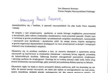 Komu przeszkadza jawność płac nauczycieli? List otwarty Sieci Obywatelskiej Watchdog do Prezesa ZNP