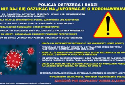 """Policja radzi i ostrzega. Nie daj się oszukać na """"informacje o koronawirusie"""""""