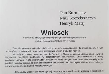 Radny Rafał Kowalik z Szczebrzeszyna wnioskuje o otwarcie miejskiego targowiska