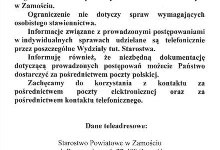 Komunikat dla interesantów Starostwa Powiatowego w Zamościu