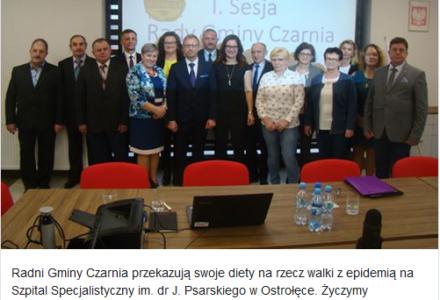 Radni z gminy Czarnia dołączają do walki z koronawirusem. Przekazują diety szpitalowi w Ostrołęce