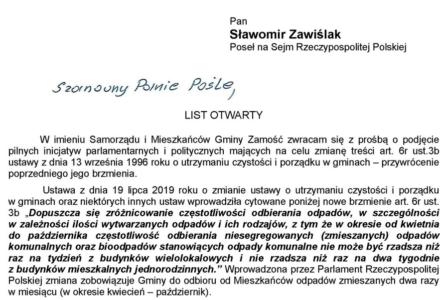 Wójt Ryszard Gliwiński pisze list otwarty do Posła na Sejm Rzeczypospolitej Polskiej