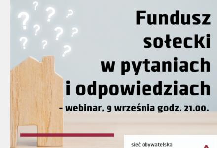 """Zapraszamy na webinarium """"Fundusz sołecki w pytaniach i odpowiedziach"""""""