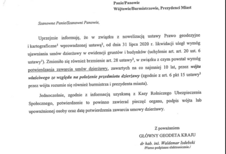 Nowe obowiązki Wójta w zakresie potwierdzania umów dzierżawy