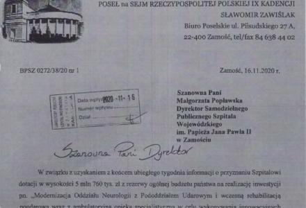 Biuro Poselskie informuje o środkach finansowych dla  Oddziału Neurologii SPSW im. Papieża Jana Pawła II
