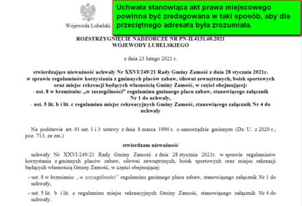 Wojewoda lubelski unieważnił kolejną uchwałę Rady Gminy Zamość