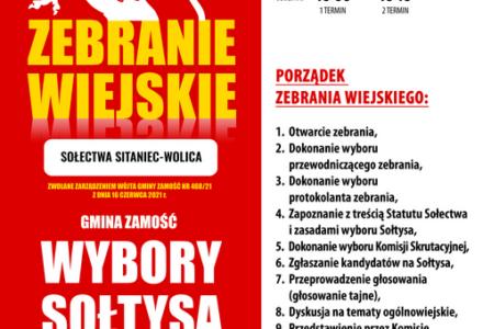 Zebranie Wiejskie Sołectwa Sitaniec-Wolica – wybory Sołtysa